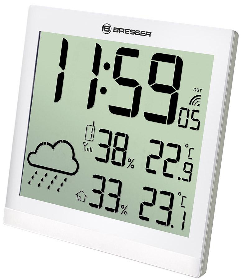 Метеостанция (настенные часы) Bresser TemeoTrend JC LCD с радиоуправлением, белая