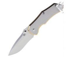 Нож Sanrenmu серии EDC, лезвие 68мм, рукоять - металл, клипса на ремень, цвет - сталь