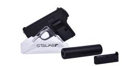 Пистолет пневм. Stalker SA25S Spring (аналог Colt 25) + имит.ПБС, к.6мм, мет.корпус, магазин 7шар, до 80м/с, черный