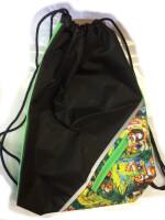 Мешок для обуви Оникс МО-3, черно-салатовый лев